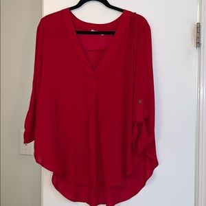 3/4 sleeve red blouse